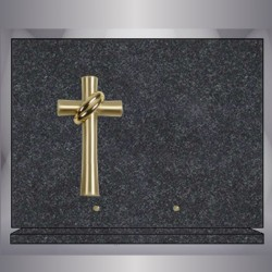 GRANITE IMPALA RECTANGLE PLATE BRONZE CROSS-STAND