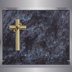 PLATE GRANITE MASS-BLUE RECTANGLE CROSS BRONZE STAND