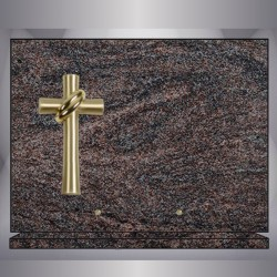 PLAQUE GRANIT PARADISO RECTANGLE-BRONZE CROIX