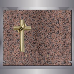 BRIGHT PINK GRANITE PLATE RECTANGULAR CROSS-BRONZE STAND
