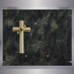 PLAQUE GRANIT VERT TROPICAL RECTANGLE-BRONZE CROIX