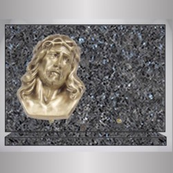 RECTANGLE PLATE GRANITE LABRADOR - BLUE BRONZE CHRIST