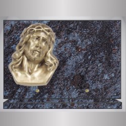RECTANGLE PLATE GRANITE MASS BLUE BRONZE CHRIST ON BASE