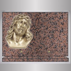PLAQUE GRANIT RECTANGLE ROSE CLARTE BRONZE CHRIST