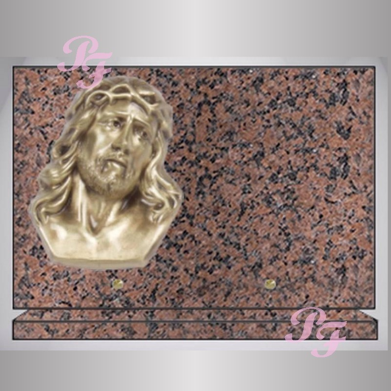 plaque granit rectangle rose clarte bronze christ sur socle. Black Bedroom Furniture Sets. Home Design Ideas