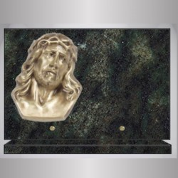 TROPICAL GREEN RECTANGLE PLATE GRANITE BRONZE CHRIST ON BASE