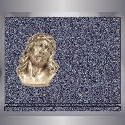 GRANITE BRONZE PLAQUE RECTANGLE LANHELIN CHRIST ON BASE