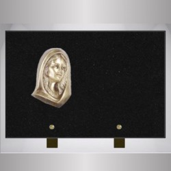 FUNERAL PLATE GRANITE MARLIN RECTANGLE-BRONZE VIRGIN ON FOOT