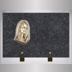 GRANITE IMPALA RECTANGLE PLATE FOOT-BRONZE VIRGIN ON FOOT