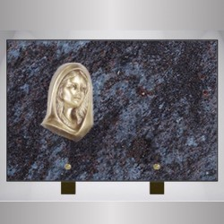 FUNERAL MASS BLUE PLAQUE RECTANGLE-BRONZE VIRGIN ON FOOT