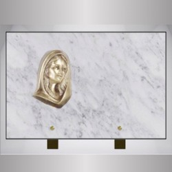 MARBLE PLATE WHITE RECTANGLE-BRONZE VIRGIN ON FOOT