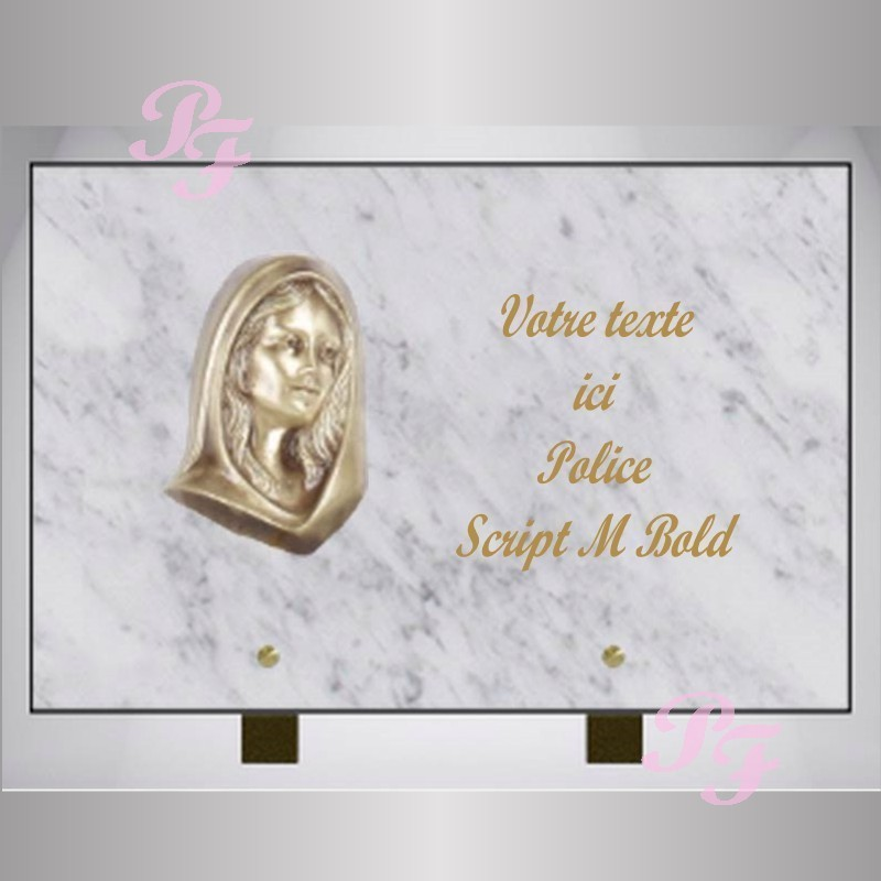 plaque funeraire marbre blanc rectangle bronze vierge sur pieds. Black Bedroom Furniture Sets. Home Design Ideas