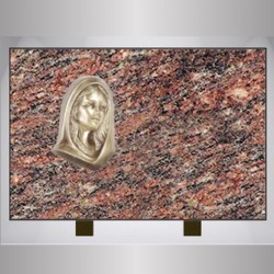 PLATE ROSE FUNERAL DALVA RECTANGLE-BRONZE VIRGIN ON FOOT