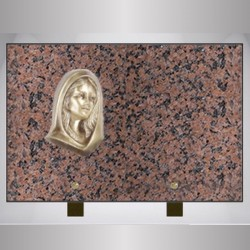 FUNERAL GRANITE PLATE ON FOOT PINK RECTANGLE CLARITY-BRONZE VIRGIN MARY