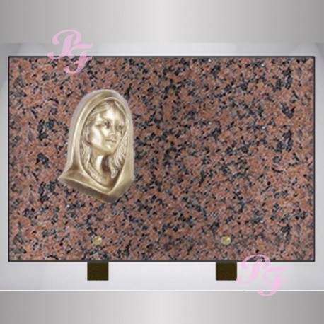 plaque funeraire granit sur pieds rose clarte rectangle bronze vierge marie. Black Bedroom Furniture Sets. Home Design Ideas