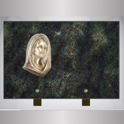 FUNERAL PLATE GRANITE GREEN FEET ON TROPICAL RECTANGLE-BRONZE VIRGIN MARY