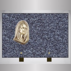 FUNERAL PLATE GRANITE LANHELIN RECTANGLE-FEET ON BRONZE VIRGIN MARY