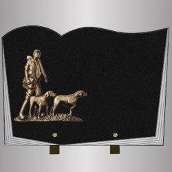 FUNERAL PLATE GRANITE MARLIN HUNTER BOOK STYLE FOOT