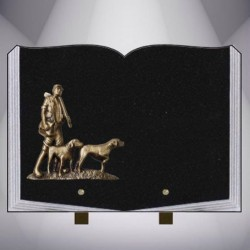 FUNERAL PLATE GRANITE MARLIN CLASSIC BOOK STAND BRONZE HUNTER HUNTING