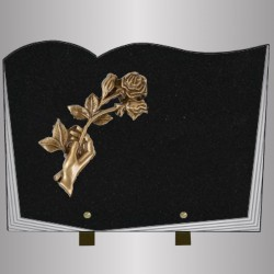 FUNERAL PLATE GRANITE MARLIN BOOK STYLE STAND BRONZE HAND ROSE