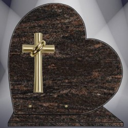 FUNERAL BASE PLATE GRANITE HIMALAYAN BLUE HEART CROSS BRONZE