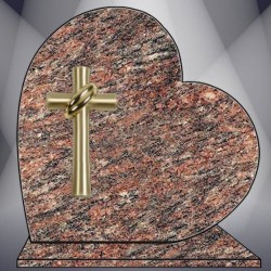 FUNERAL HEART ON BASE PLATE ROSE DALVA GRANITE BRONZE CROSS