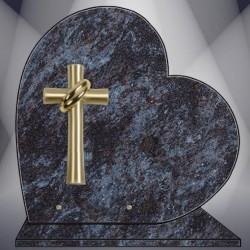HEART ON BASE PLATE FUNERAL MASS BLUE GRANITE BRONZE CROSS
