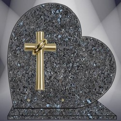 HEART ON BASE PLATE FUNERAL LABRADOR BLEU GRANITE BRONZE CROSS