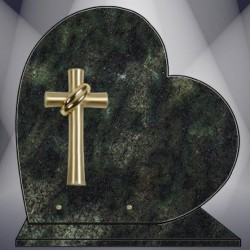 HEART ON BASE PLATE FUNERAL VERT TROPICAL GRANITE BRONZE CROSS