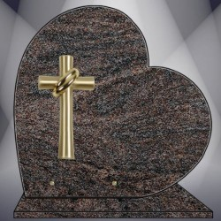 HEART ON BASE PLATE FUNERAL PARADISO GRANITE BRONZE CROSS