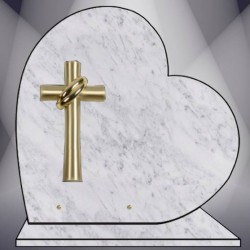 HEART ON BASE PLATE FUNERAL MARBRE BLANC BRONZE CROSS
