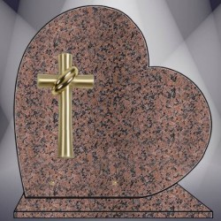 HEART ON BASE PLATE FUNERAL GRANIT ROSE CLARTE BRONZE CROSS