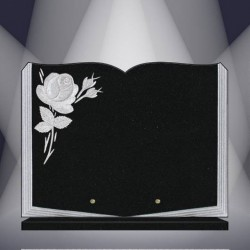 FUNERAL PLATE GRANITE MARLIN ENGRAVED BOOK ON BASE