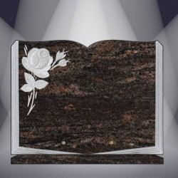 FUNERAL PLATE GRANITE HIMALAYA BLUE ENGRAVED BOOK ON BASE