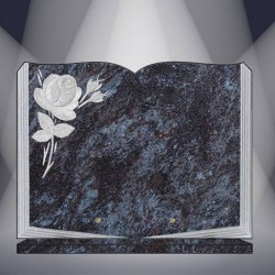 FUNERAL PLATE GRANITE MASS BLUE ENGRAVED BOOK ON BASE