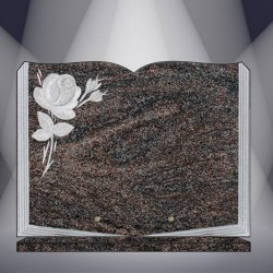 FUNERAL PLATE GRANITE PARADISO ENGRAVED BOOK ON BASE
