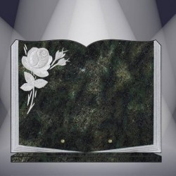 FUNERAL PLATE GRANITE VERT TROPICAL ENGRAVED BOOK ON BASE