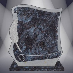 FUNERAL PLATE GRANITE MASS BLUE PARCHMENT ENGRAVED STAND