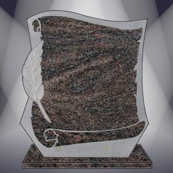 FUNERAL PLATE GRANITE PARADISO PARCHMENT ENGRAVED STAND