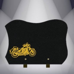 BLACK MARLIN FUNERAL PLATE GRANITE BURNING MOTO - BIKER S55