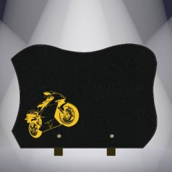 BLACK MARLIN FUNERAL PLATE GRANITE BURNING MOTO - BIKER S29