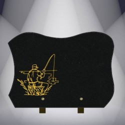 FUNERAL PLATE BLACK GRANITE BURNING MARLIN FISHING FISHERMAN-X09