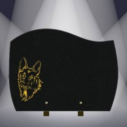 DOG PLATE BLACK MARLIN FUNERAL GRANITE BURNING FINE GOLD A26