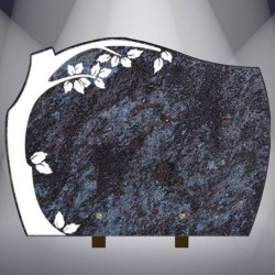 FUNERAL PLATE WITH BURNING TREE GRANITE MASS BLUE