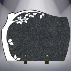 FUNERAL PLATE WITH BURNING TREE GRANITE IMPALA