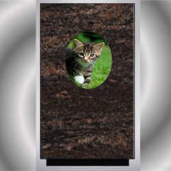 FUNERAL URN CAT MEDALLION WITH PORCELAIN