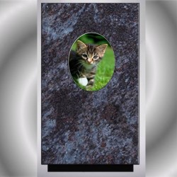 FUNERAL URN CAT MEDALLION WITH PORCELAIN MASS BLUE