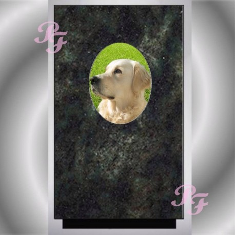 FUNERAL URN DOG MEDALLION WITH PORCELAIN VERT TROPICAL