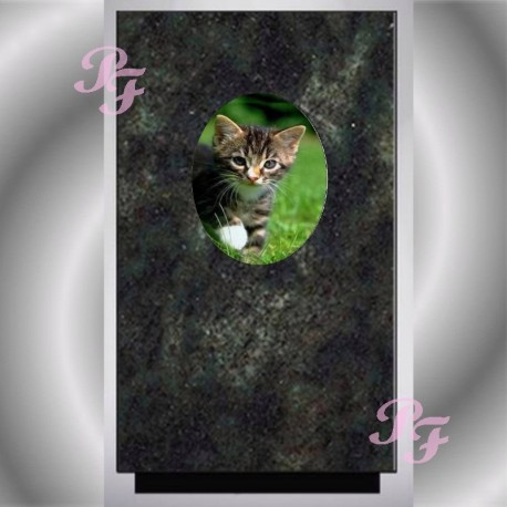 FUNERAL URN CAT MEDALLION WITH PORCELAIN PARADISO