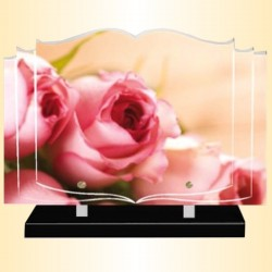 FUNERAL PLATE PINK ROSE - BOOK ALTUGLAS